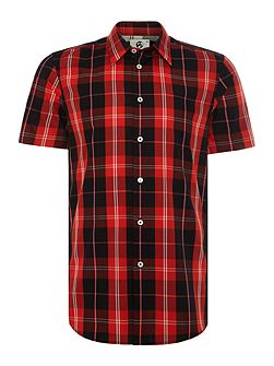 Tailored fit large check short sleeve shirt