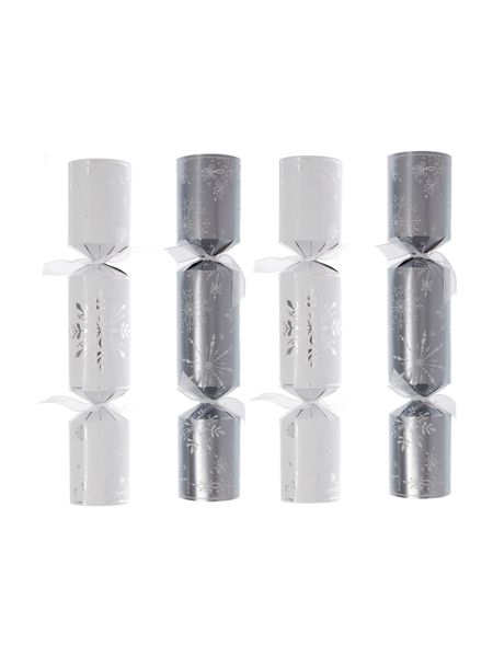 Linea Set of 10 white and silver snowflake crackers