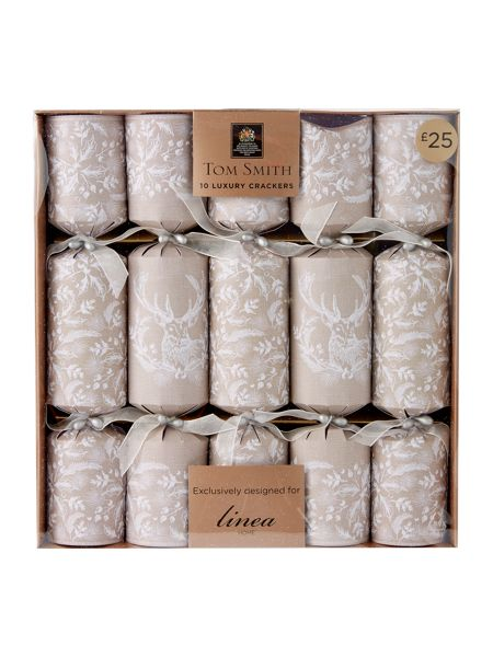 Linea Pack of 10 rustic stag crackers