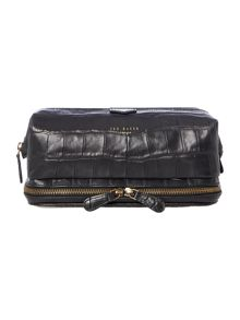 Ted Baker Arthur Crocodile Embossed Leather Washbag