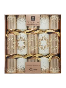 Linea Pack of 10 Cream & Gold dotty star crackers