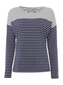 Dickins & Jones Navy Stripe Long Sleeve Top