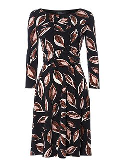 Leaf print full skirted dress