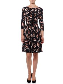Linea Leaf print full skirted dress