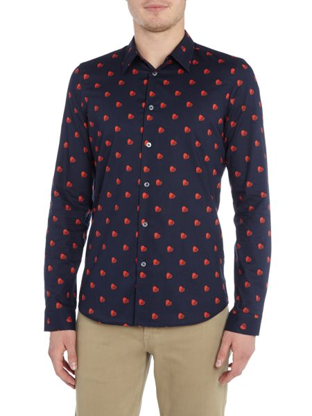PS By Paul Smith Slim fit heart print long sleeve shirt