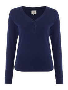 Dickins & Jones Henley Navy Rib Top