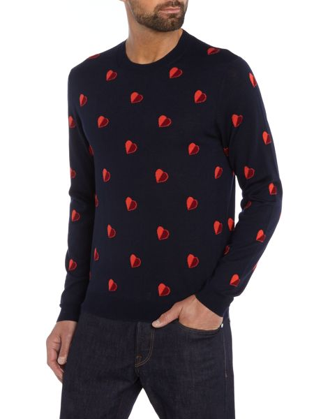 PS By Paul Smith Regular fit all over heart crew neck jumper