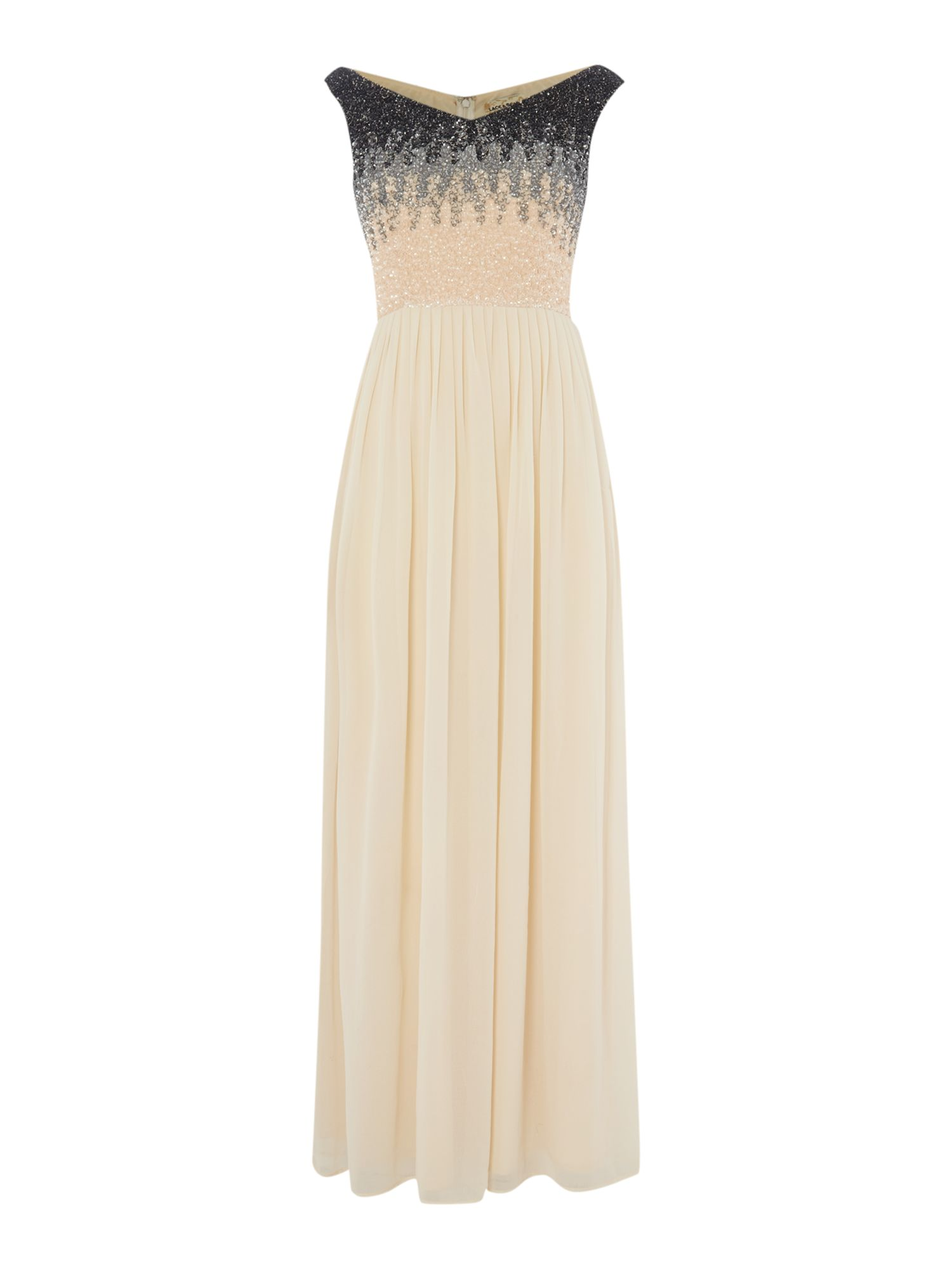 Lace and Beads Lace and Beads Off Shoulder Ombre Sequin Maxi Dress, Black Gold