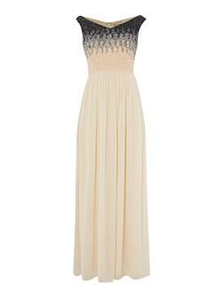 Off Shoulder Ombre Sequin Maxi Dress