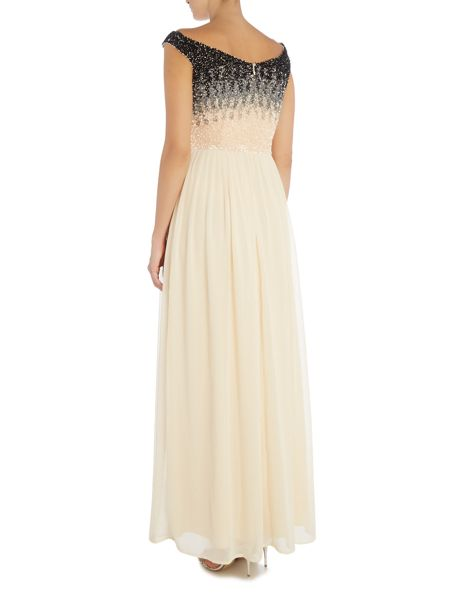 Lace and Beads Off Shoulder Ombre Sequin Maxi Dress
