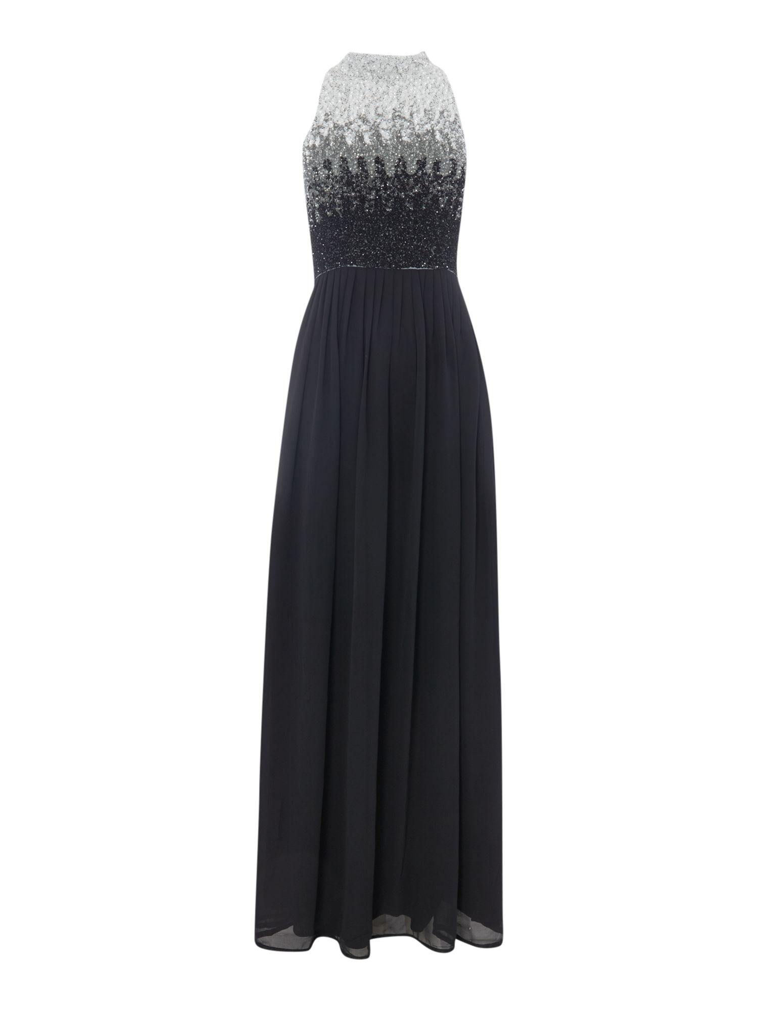 Lace and Beads Lace and Beads High Neck Ombre Sequin Maxi Dress, Black & Grey