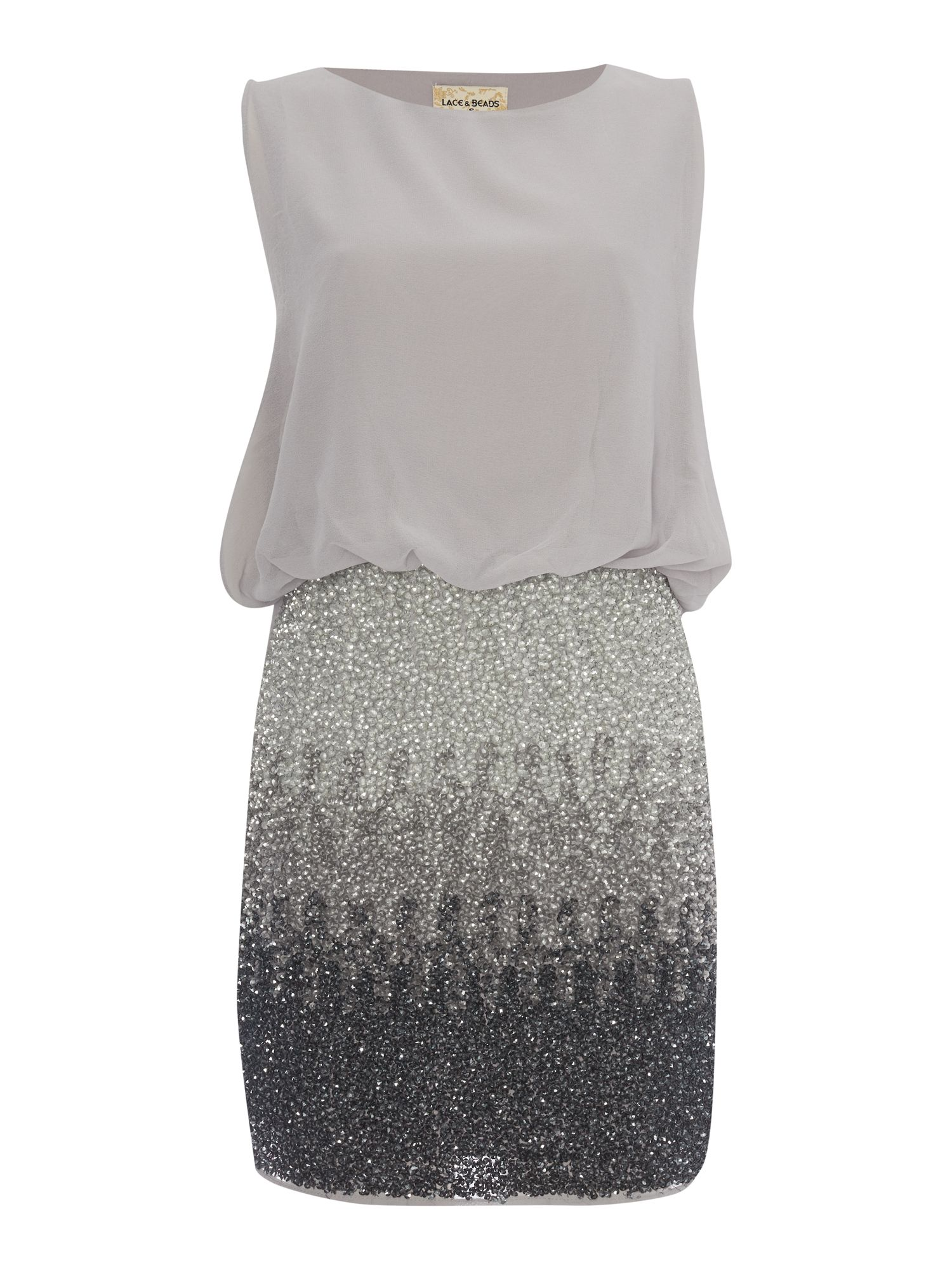 Lace and Beads Lace and Beads Sleeveless Blouson Top Ombre Sequin Skirt Dress, Grey