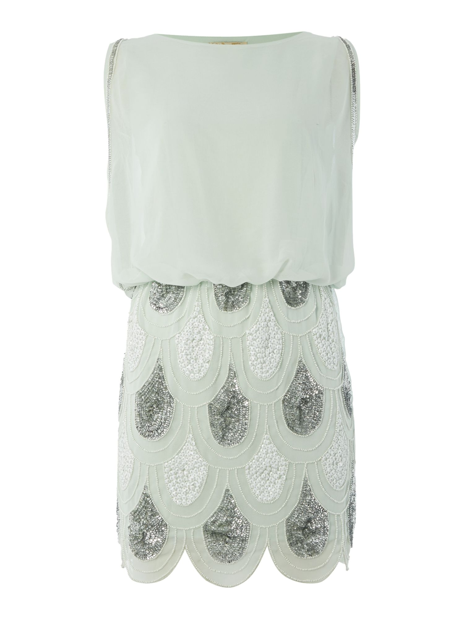 Lace and Beads Lace and Beads Sleeveless Blouson Top Sequin Detail Dress, Mint