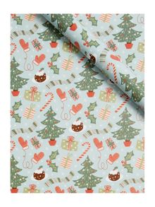 Linea Christmas trees & pudding 3m wrapping paper