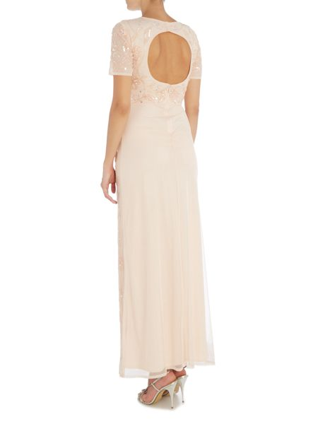 Lace and Beads Cap Sleeve All Over Embellished Maxi Dress