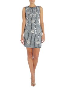 Lace and Beads Sleeveless Bodycon Dress