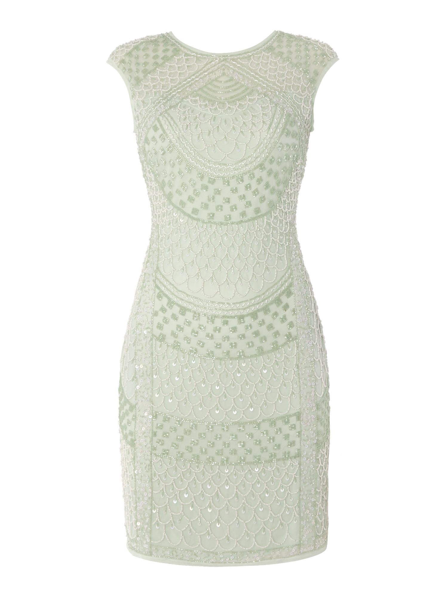 Lace and Beads Lace and Beads Cap Sleeve Embellished Bodycon Dress, Mint