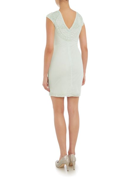 Lace and Beads Cap Sleeve Embellished Bodycon Dress