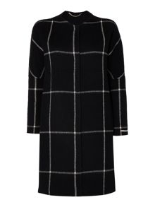 Marella Serafin long sleeve wool check coat