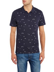 Only & Sons All Over Tropical Ditsy Print Short Sleeve Polo