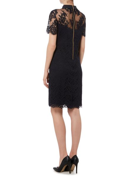 Linea Mixed lace collar detail shift dress