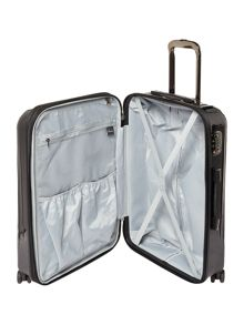 Linea Titanium II black 8 wheel hard medium suitcase