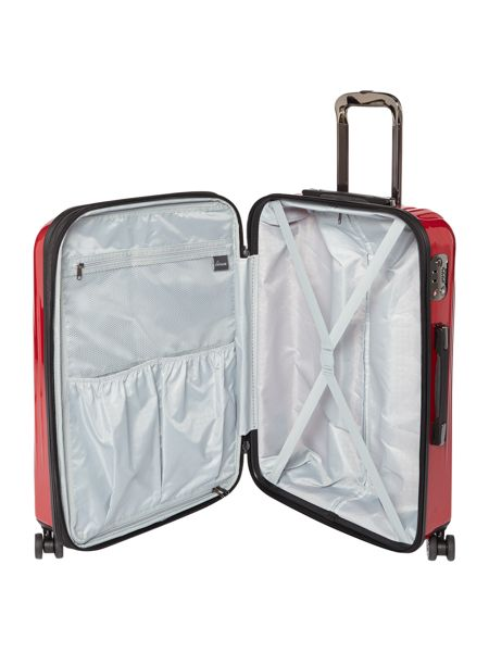 Linea Titanium II red 8 wheel hard medium suitcase