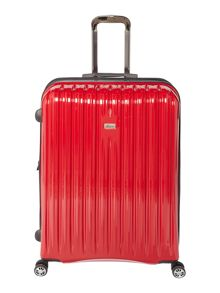 Linea Titanium II red 8 wheel hard large suitcase