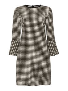 Marella Lontra 3/4 bell sleeve check print dress