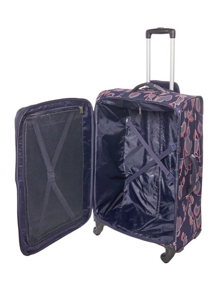 Linea Flora print soft 4 wheel large suitcase