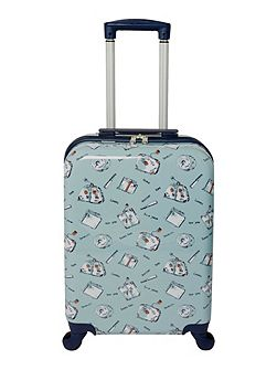 Summertime blue 4 wheel hard cabin suitcase