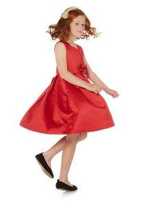 Little Dickins & Jones Sleeveless Bow Front Satin Dress