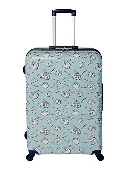 Summertime blue 4 wheel hard large case