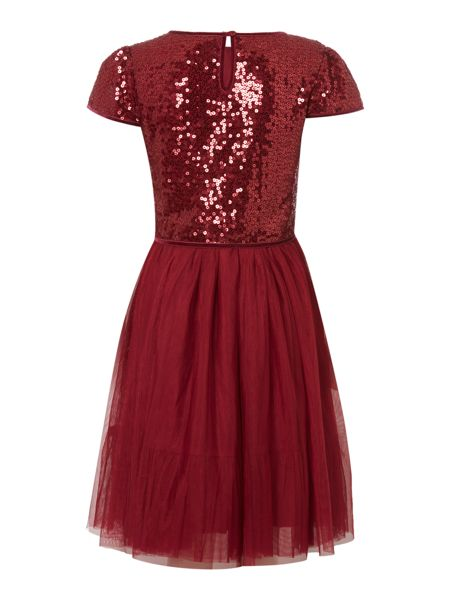 Little Dickins & Jones Short Sleeve Sequin Top Mesh Skirt Dress