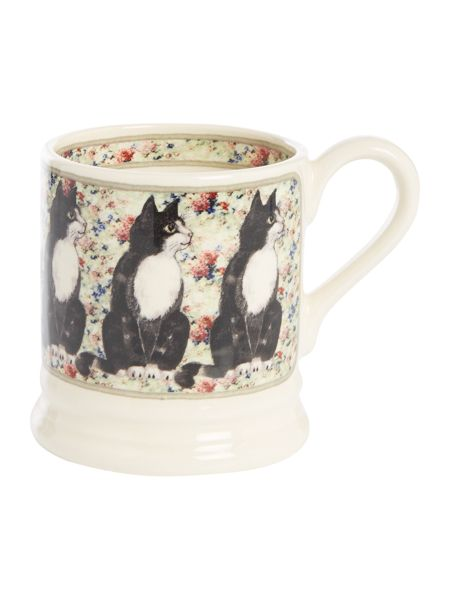 Emma Bridgewater Black & White Cat On Rug 1/2 Pint Mug Boxed