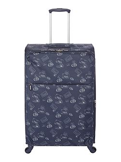 Voyage navy 4 wheel soft large suitcase