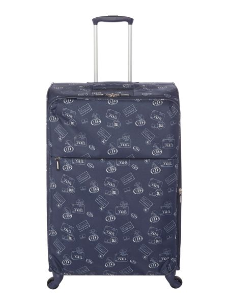 Dickins & Jones Voyage navy 4 wheel soft large suitcase