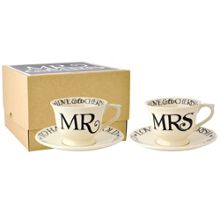 Emma Bridgewater Black Toast Mr & Mrs Small Teacups & Saucers