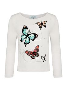 Little Dickins & Jones Long Sleeve Flocked Butterfly Trail