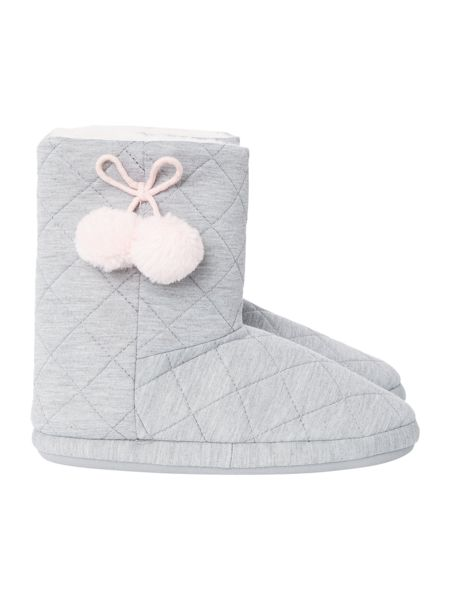 Therapy Quilted PomPom Slipper Bootie