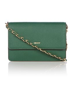 Saffiano green small chain crossbody bag