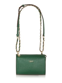 Saffiano green square crossbody