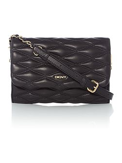 Quilted black small flapover chain crossbody