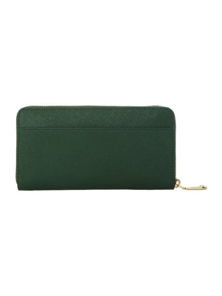 DKNY Saffiano green large zip around purse