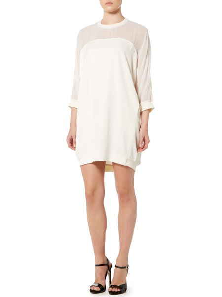 Marella Galante 3/4 sleeve sheer panel dress