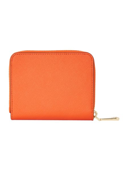 DKNY Saffiano orange small zip around purse