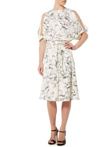 Marella Brunate floral print flutter sleeve dress