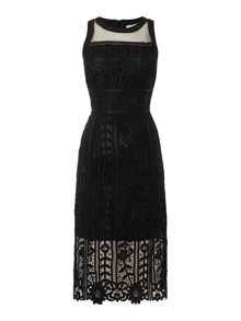 Lost Ink Sleeveless Crochet Lace Bodycon Dress