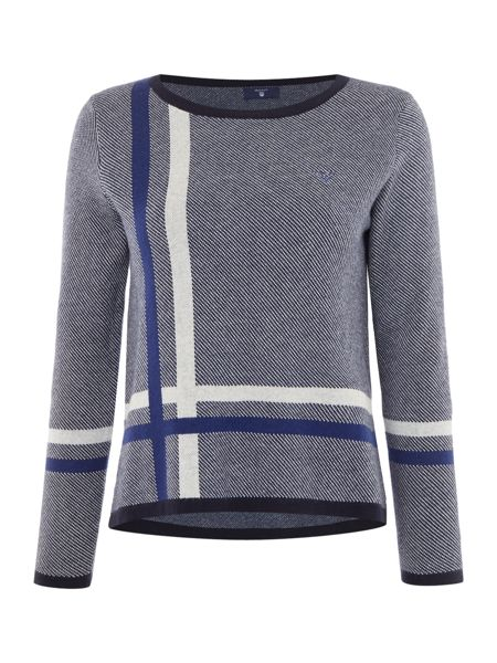 Gant Placed Check Crew Neck Jumper