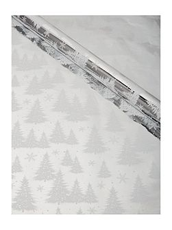 Silver and white 3m Christmas tree wrapping paper